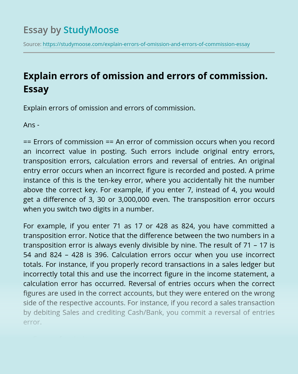 Explain errors of omission and errors of commission