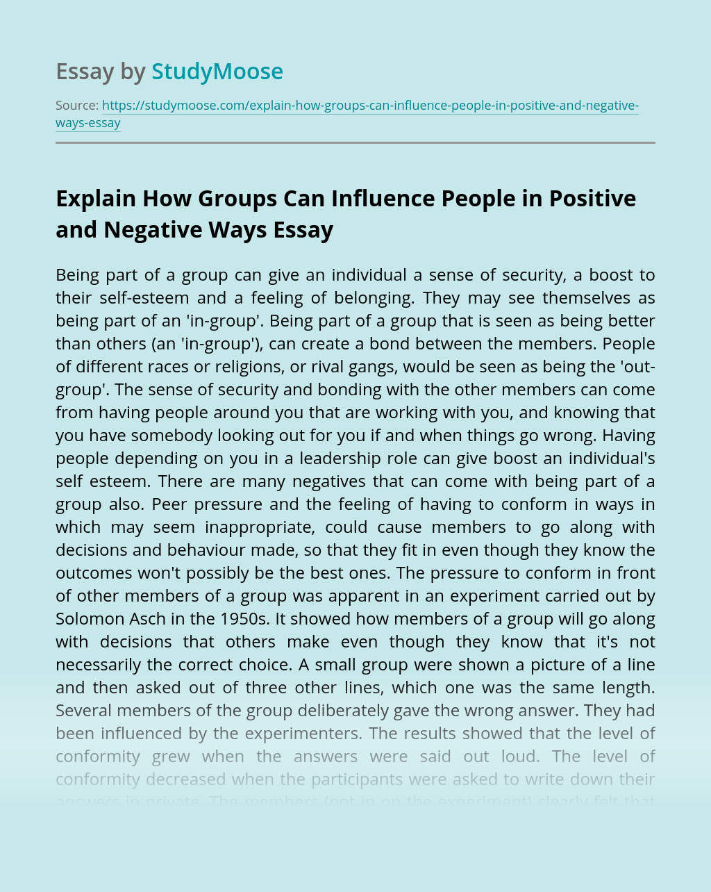 Explain How Groups Can Influence People in Positive and Negative Ways
