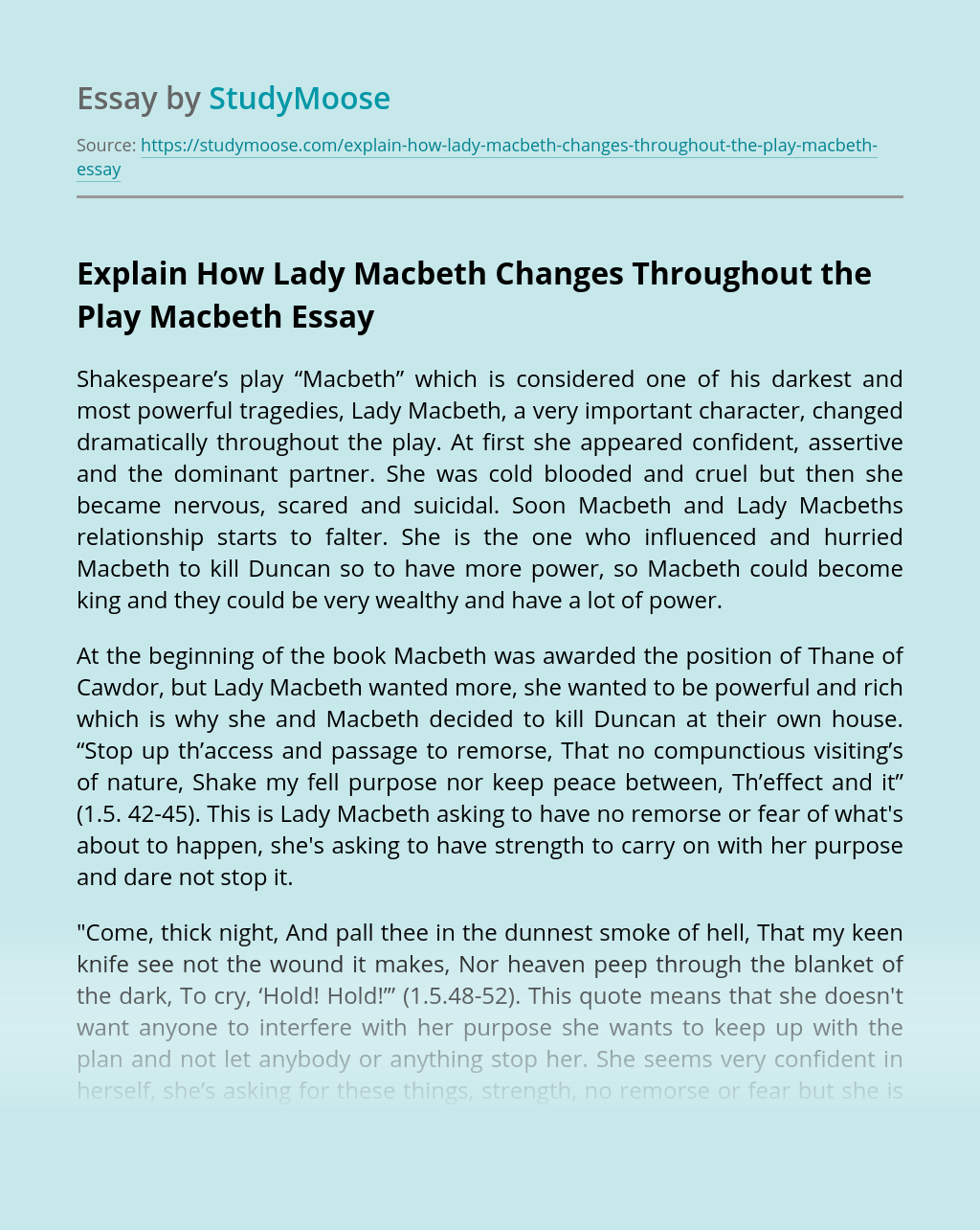 Explain How Lady Macbeth Changes Throughout the Play Macbeth