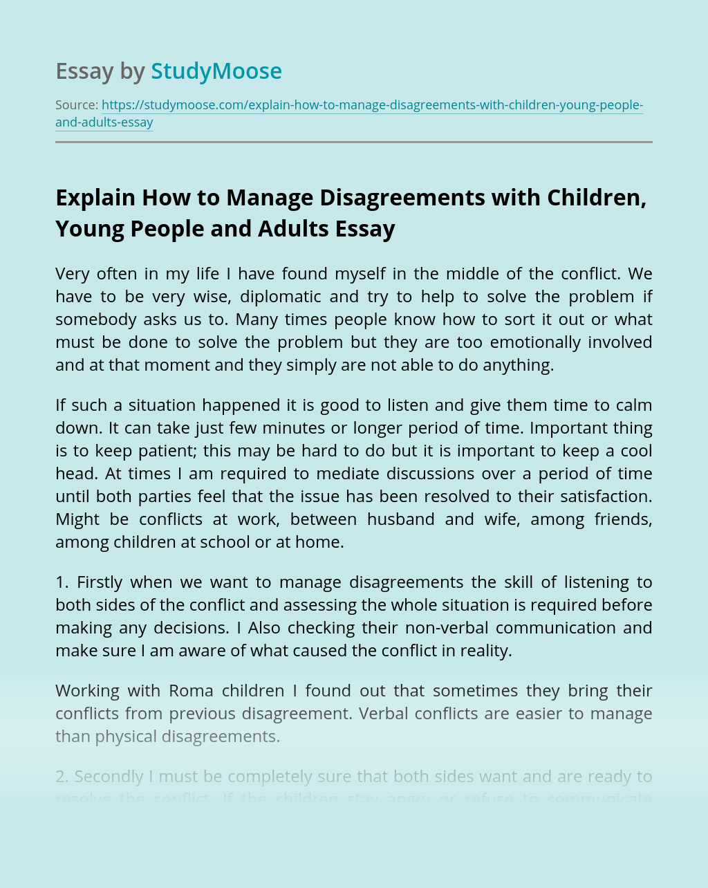 Explain How to Manage Disagreements with Children, Young People and Adults