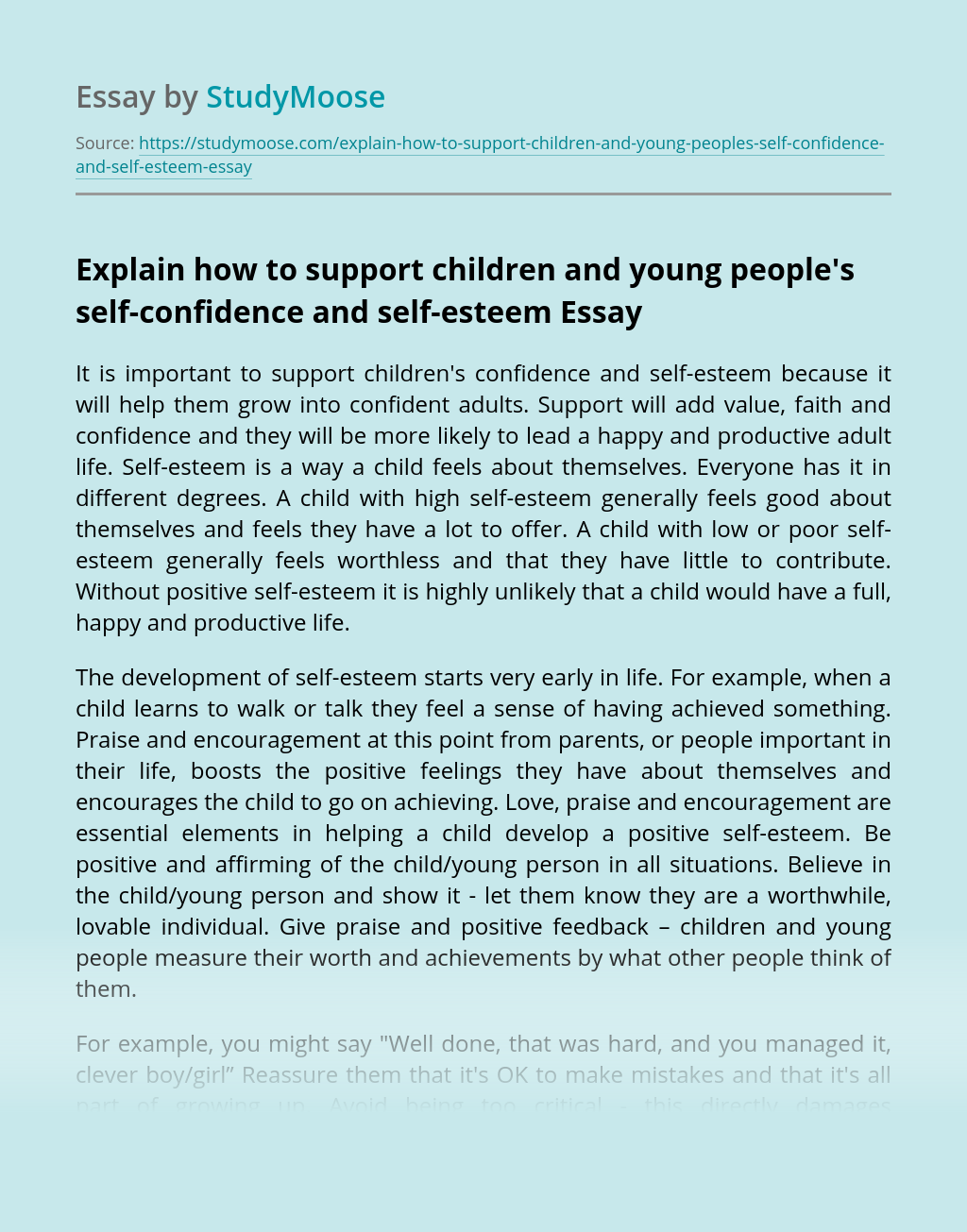 Explain how to support children and young people's self-confidence and self-esteem