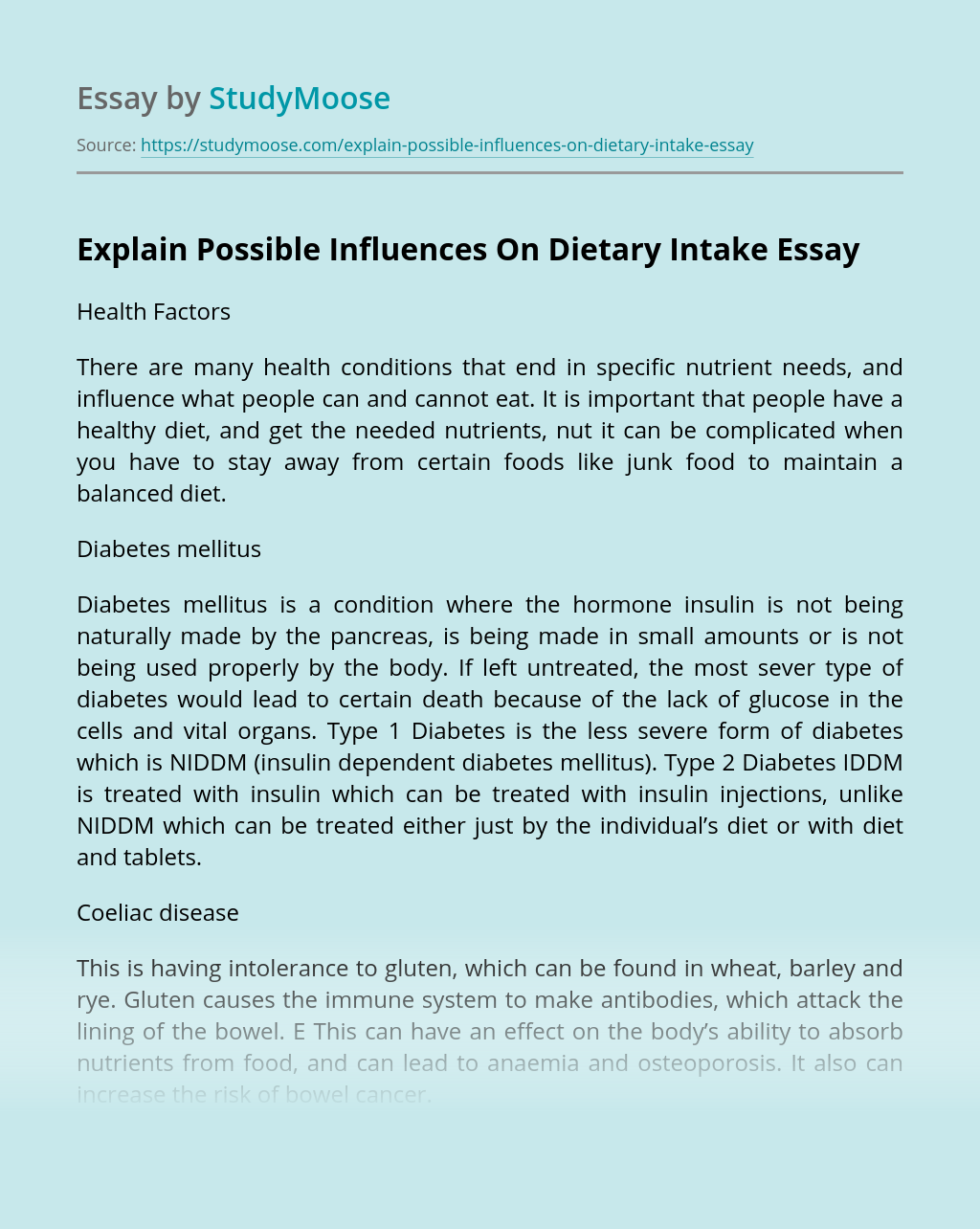 Explain Possible Influences On Dietary Intake