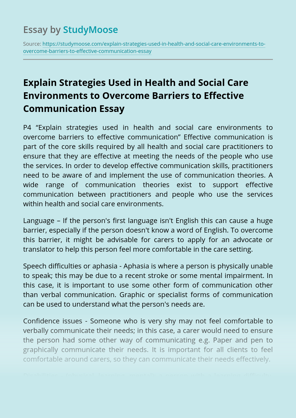 Explain Strategies Used in Health and Social Care Environments to Overcome Barriers to Effective Communication