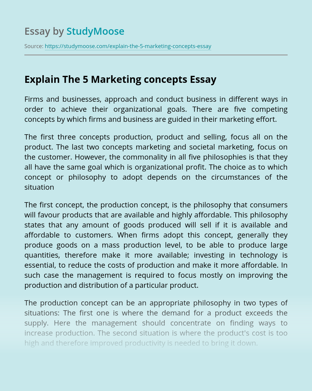 Explain The 5 Marketing concepts