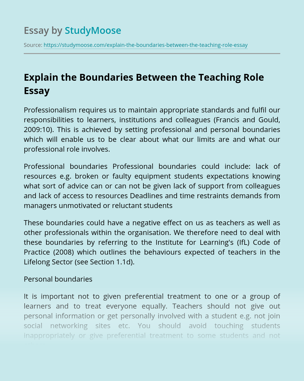 Explain the Boundaries Between the Teaching Role