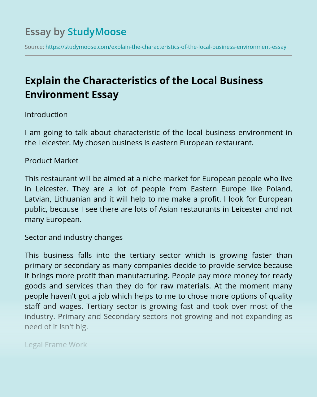 Explain the Characteristics of the Local Business Environment