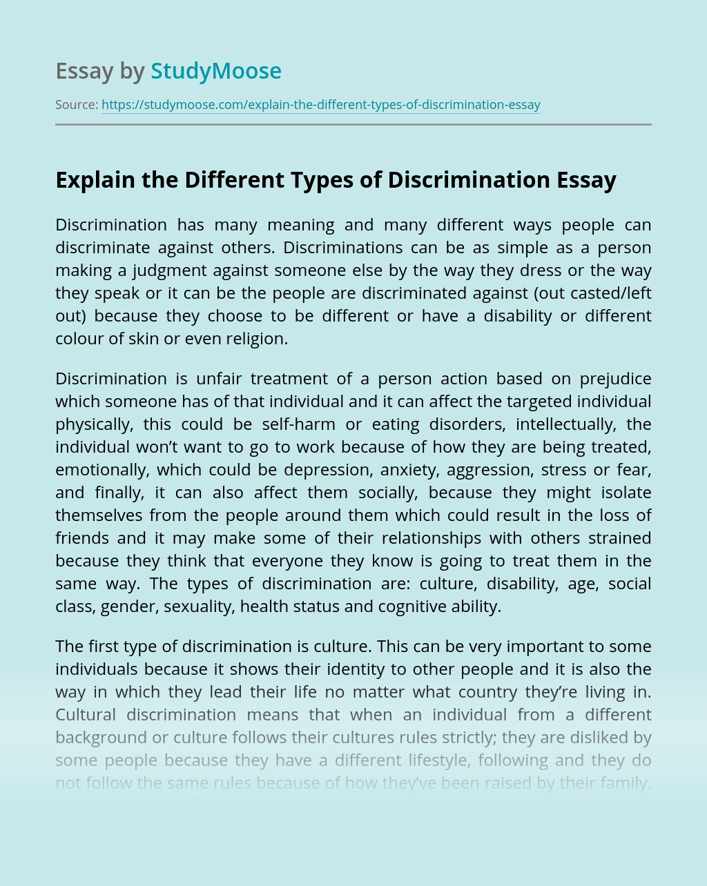 Explain the Different Types of Discrimination