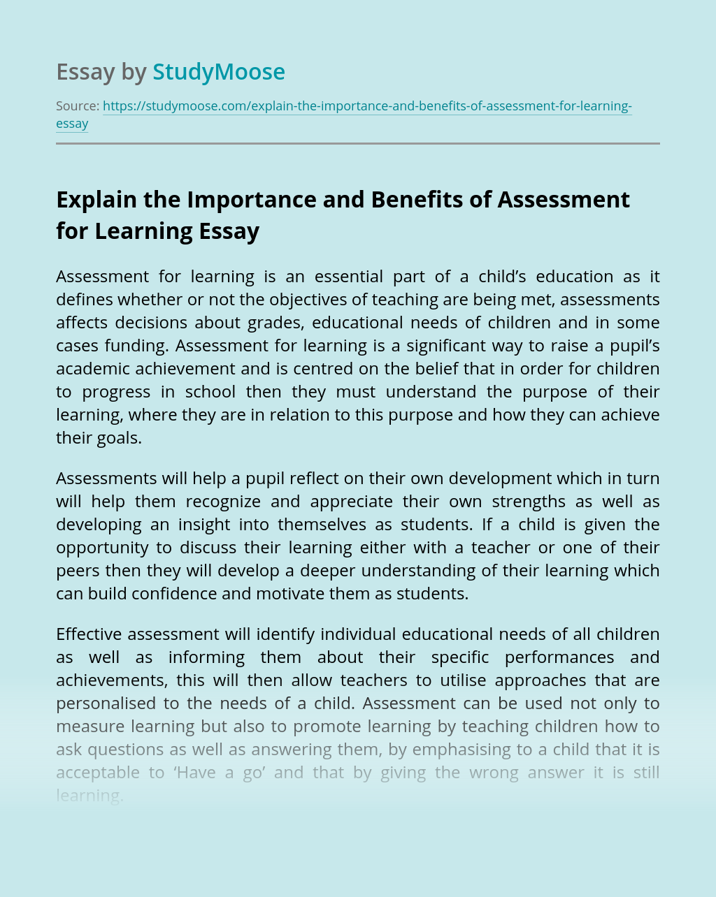 Explain the Importance and Benefits of Assessment for Learning