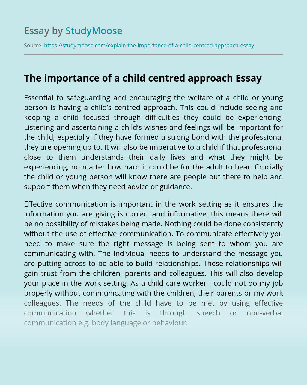 The importance of a child centred approach