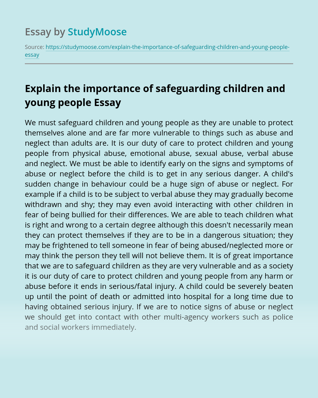 Explain the importance of safeguarding children and young people