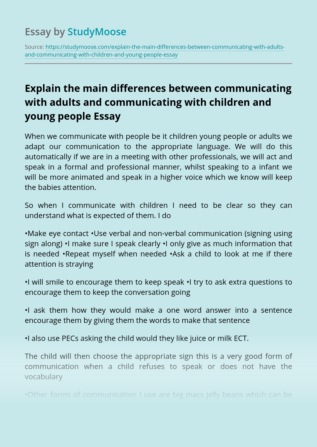 Explain the main differences between communicating with adults and communicating with children and young people