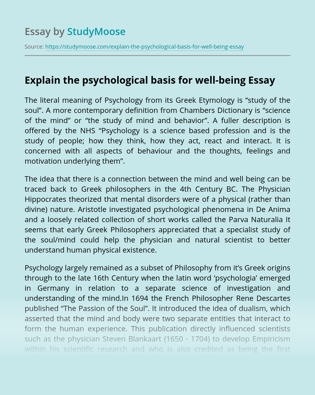 Explain the Psychological Basis for Well-Being