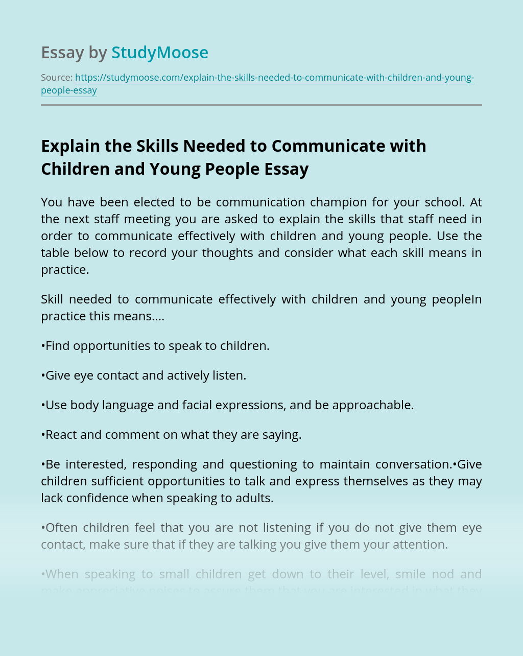 Explain the Skills Needed to Communicate with Children and Young People