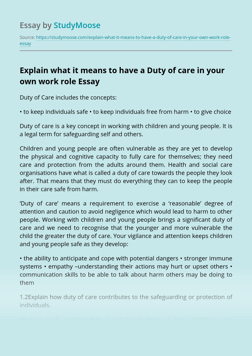 Explain what it means to have a Duty of care in your own work role