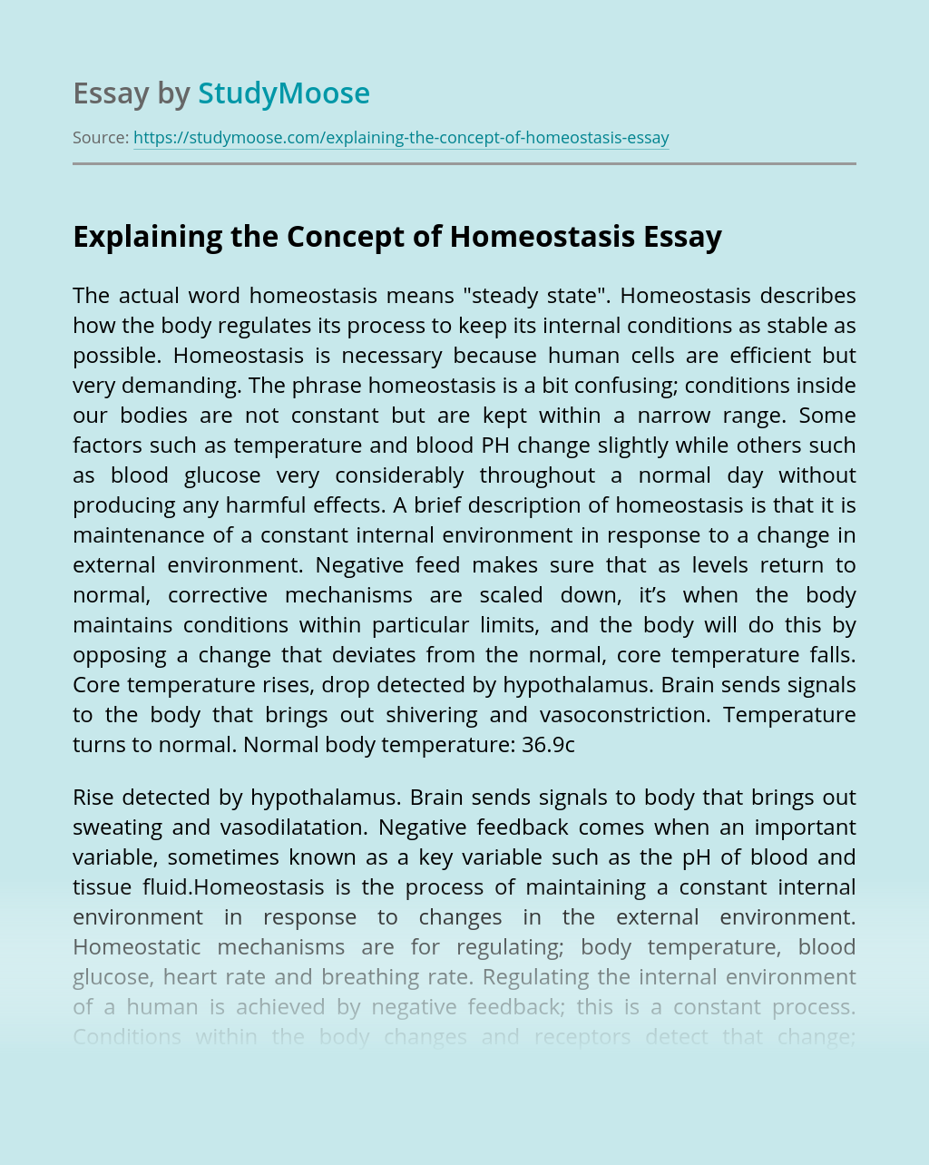 Explaining the Concept of Homeostasis