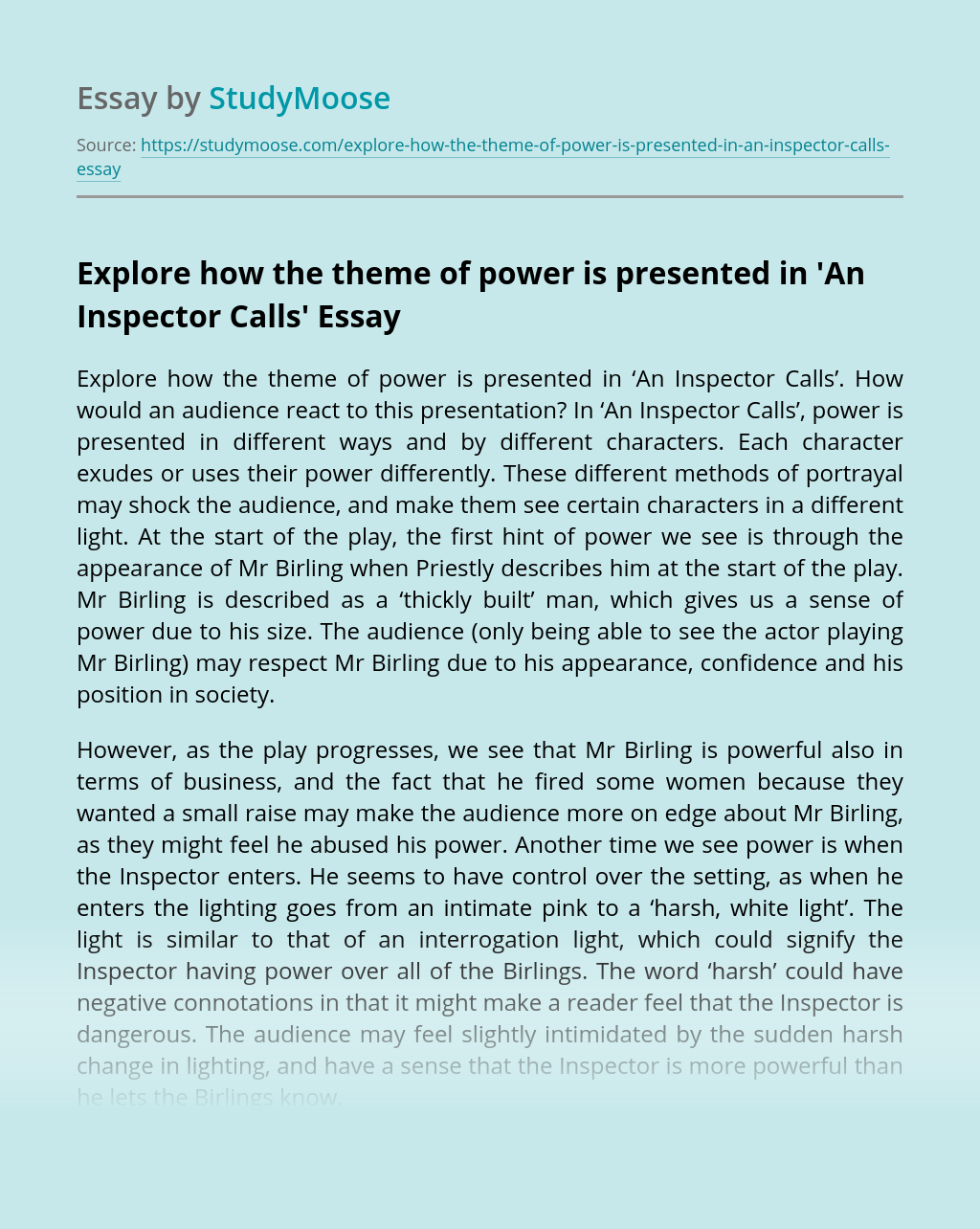 Explore how the theme of power is presented in 'An Inspector Calls'