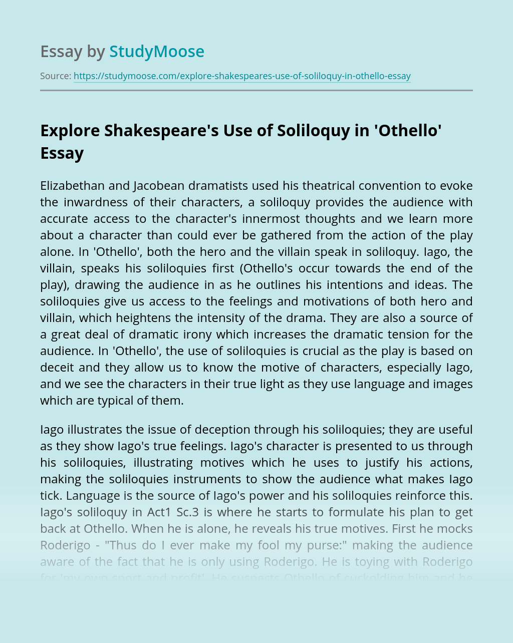 Explore Shakespeare's Use of Soliloquy in'Othello'