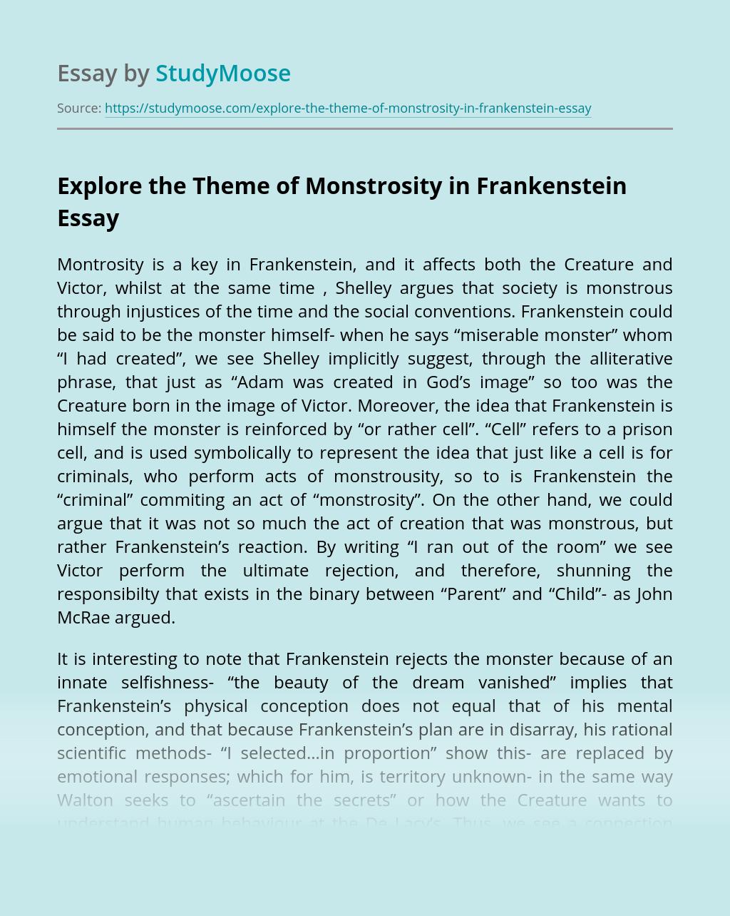 Explore the Theme of Monstrosity in Frankenstein