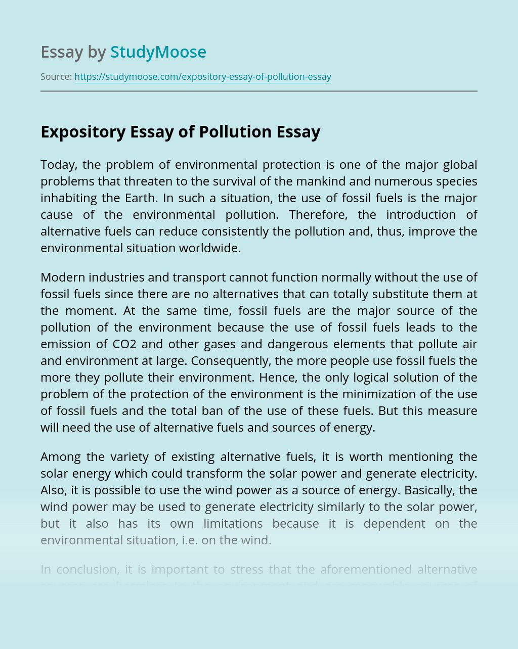 Expository Essay of Pollution