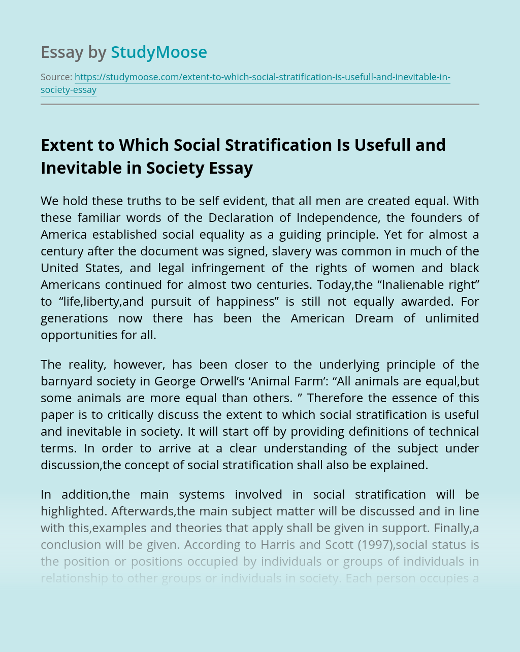 Extent to Which Social Stratification Is Usefull and Inevitable in Society