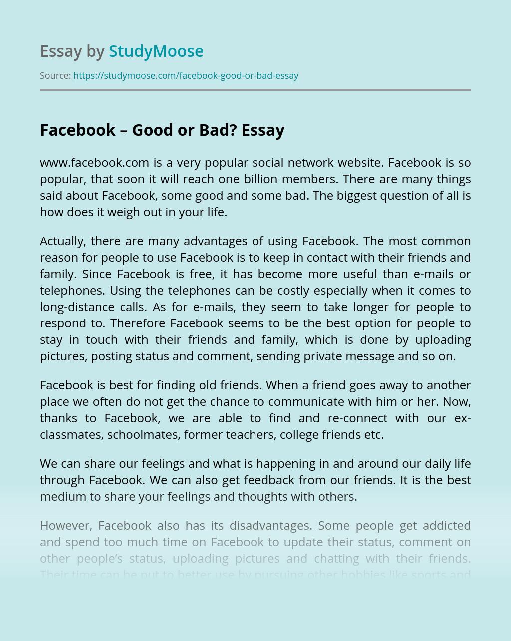 Facebook – Good or Bad?