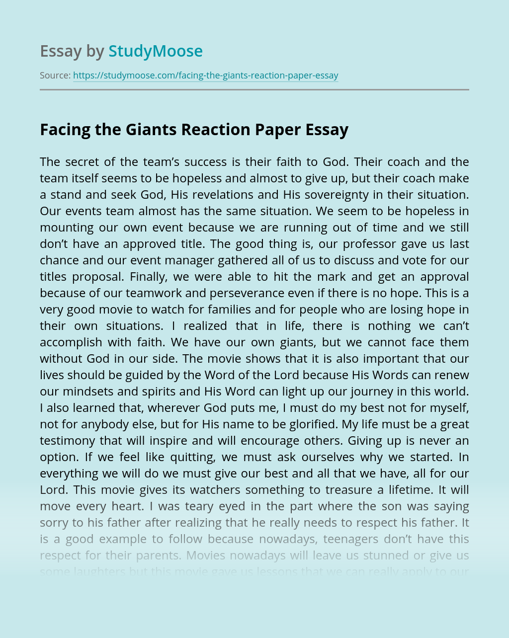 Facing the Giants Reaction Paper