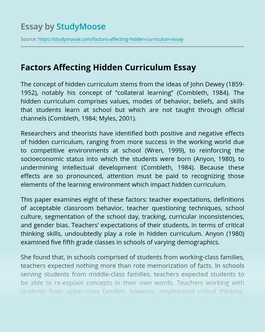 Factors Affecting Hidden Curriculum