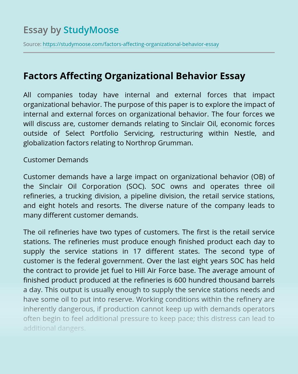 Factors Affecting Organizational Behavior
