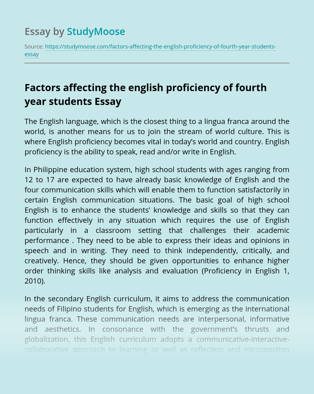 Factors affecting the english proficiency of fourth year students