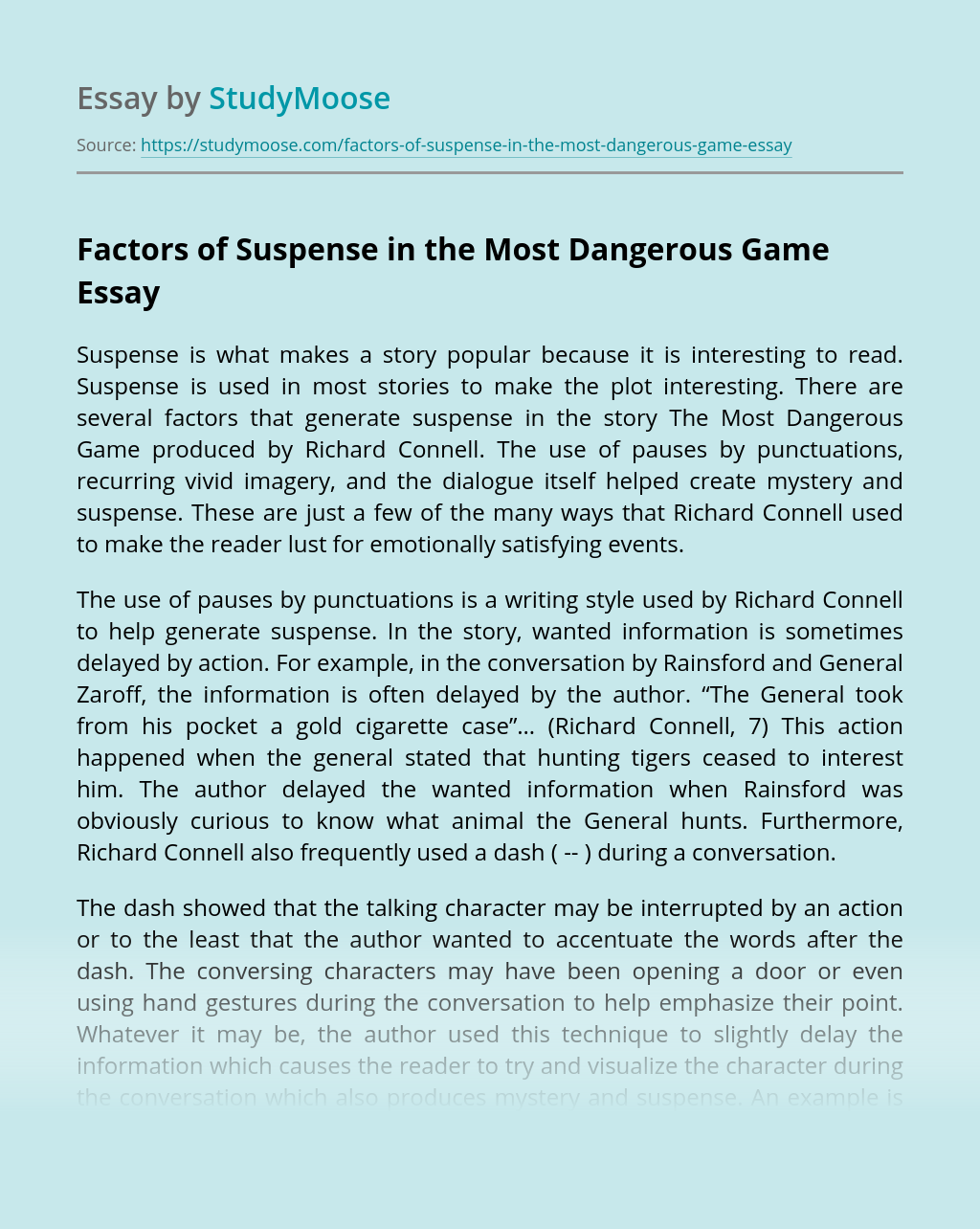 Factors of Suspense in the Most Dangerous Game