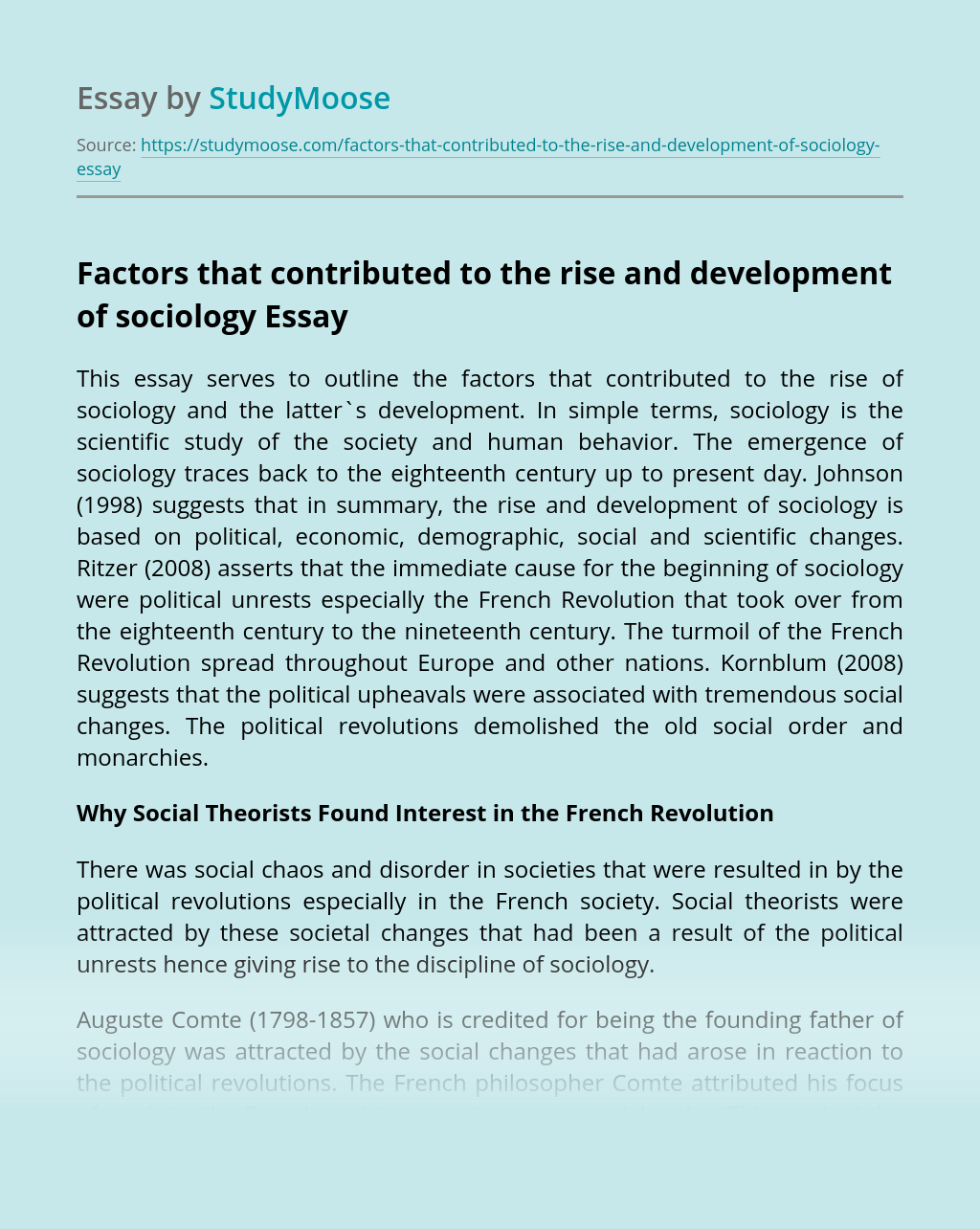 Factors that contributed to the rise and development of sociology