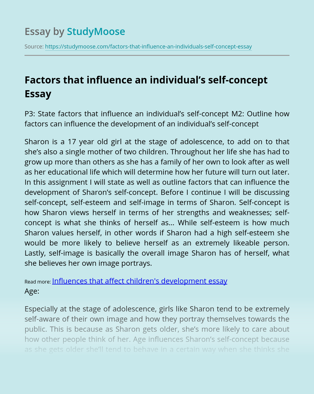 Factors that influence an individual's self-concept