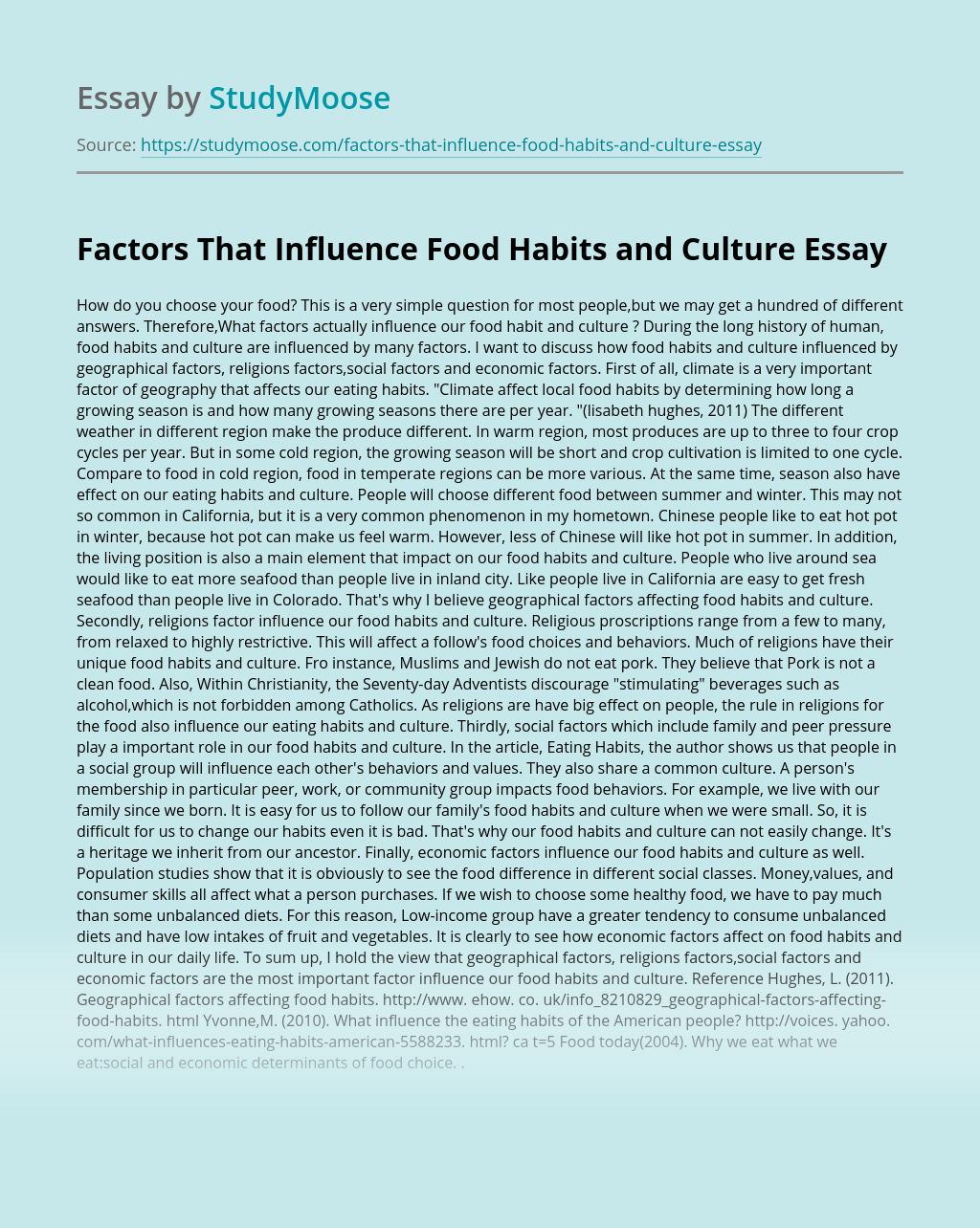 Factors That Influence Food Habits and Culture