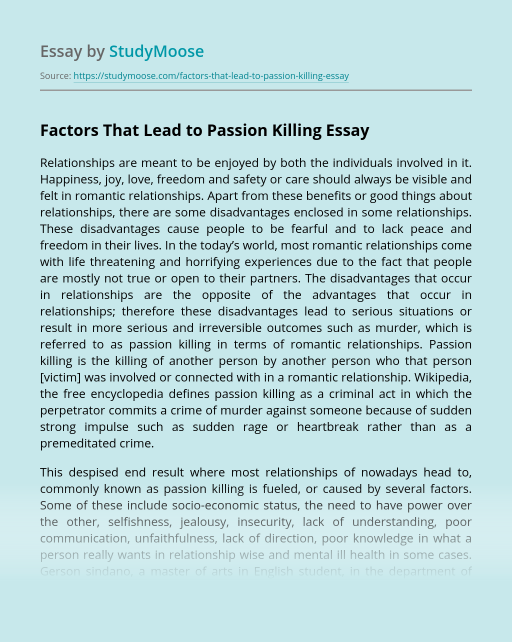 Factors That Lead to Passion Killing