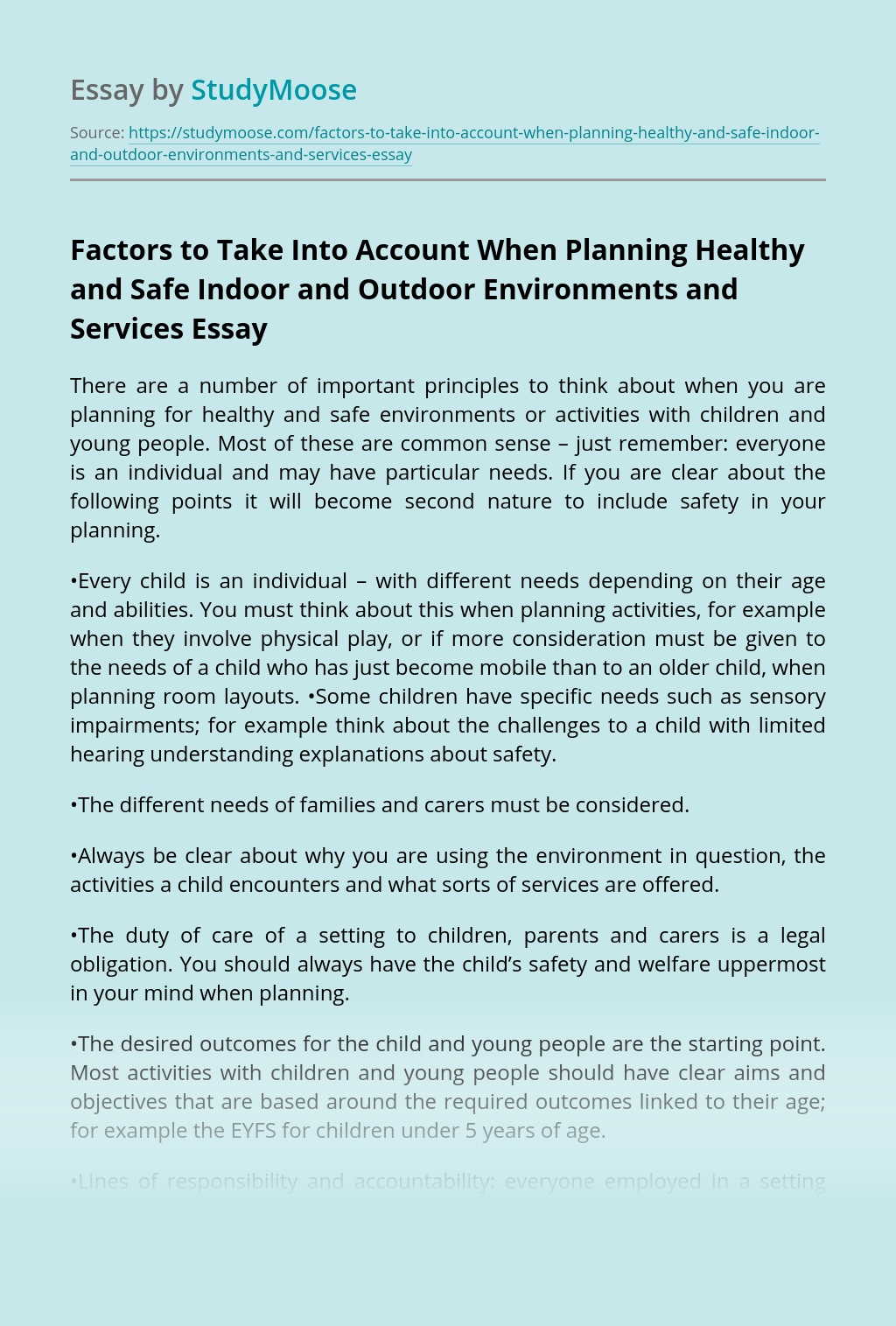 Factors to Take Into Account When Planning Healthy and Safe Indoor and Outdoor Environments and Services