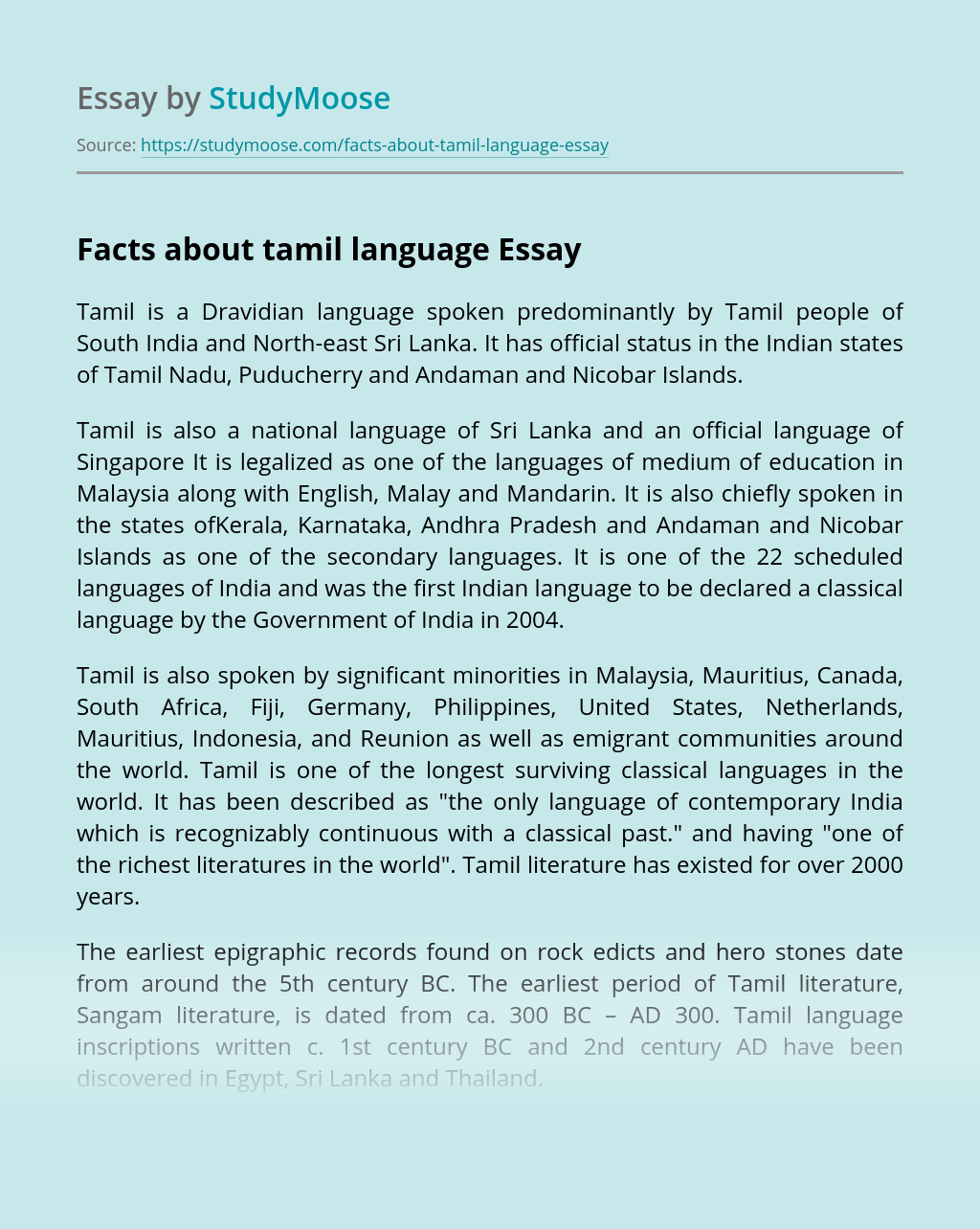 Facts about tamil language