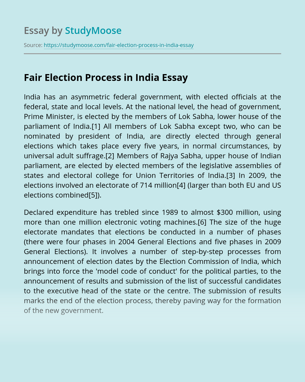 Fair Election Process in India
