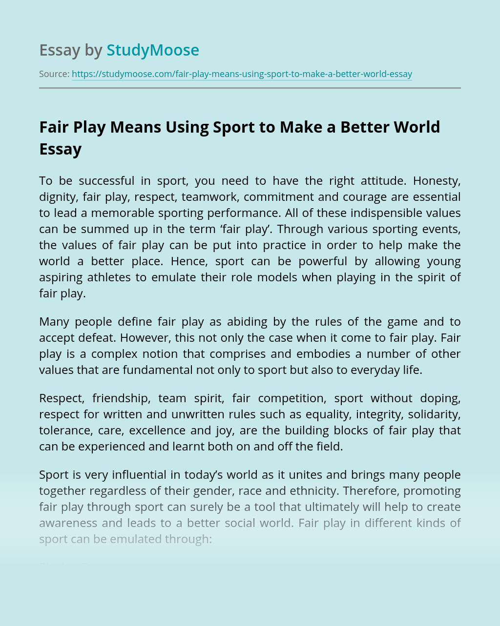 Fair Play Means Using Sport to Make a Better World