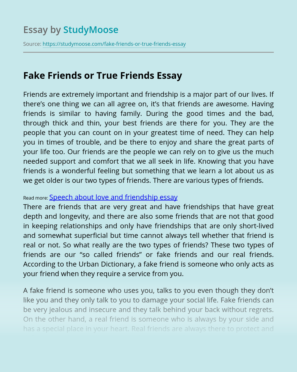 Fake Friends or True Friends