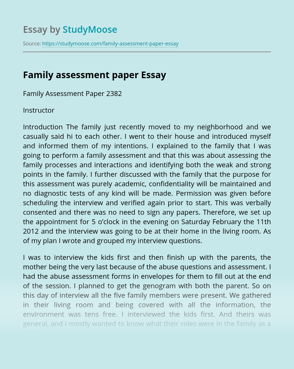 Family assessment paper