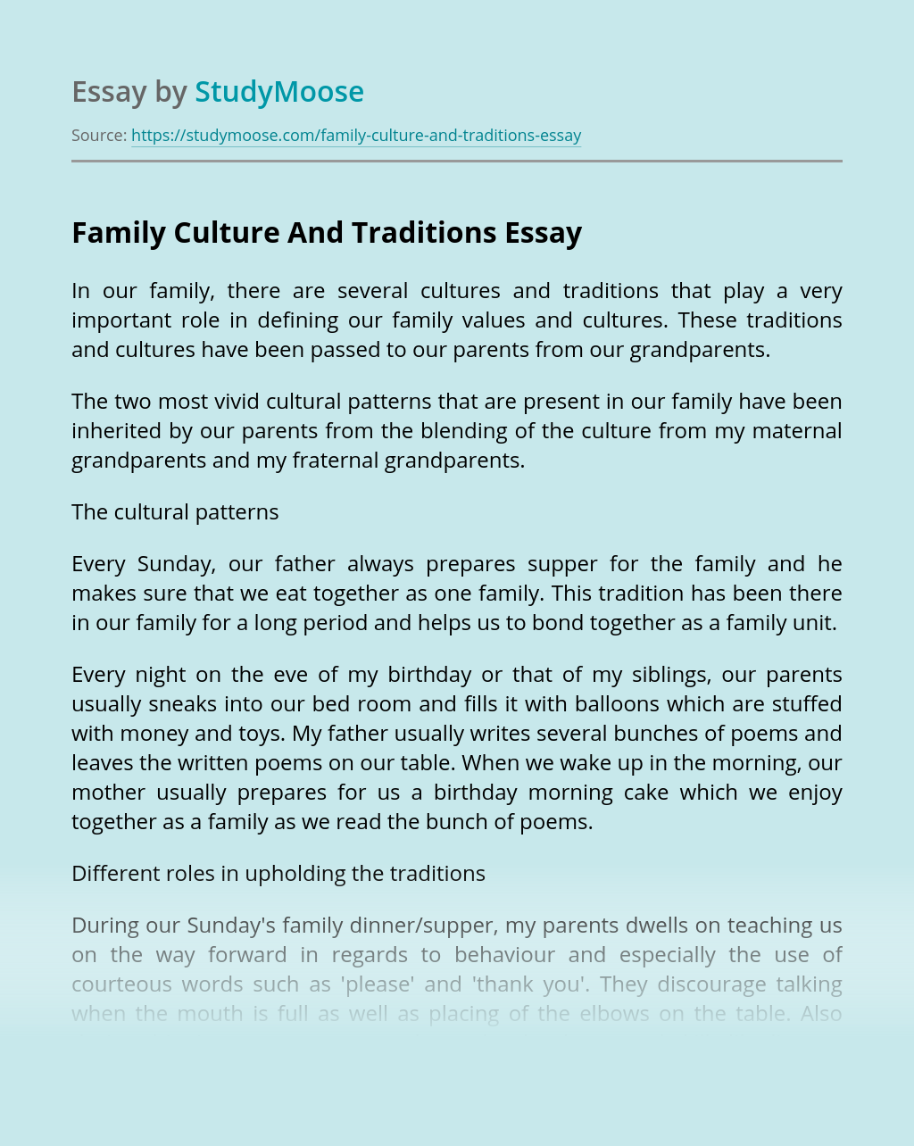 Essay about customs and traditions