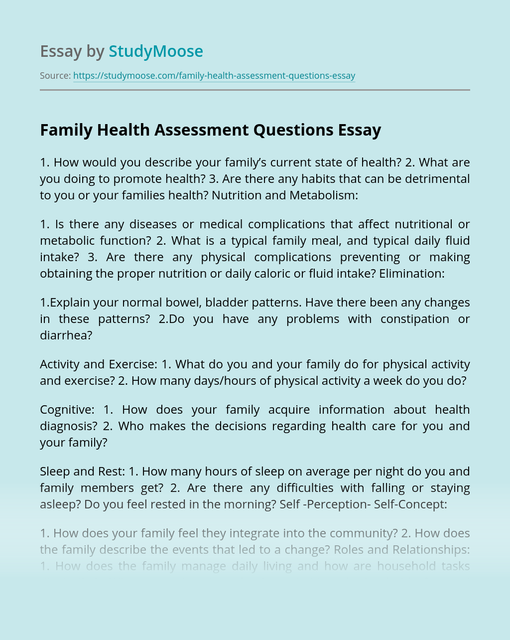 Family Health Assessment Questions