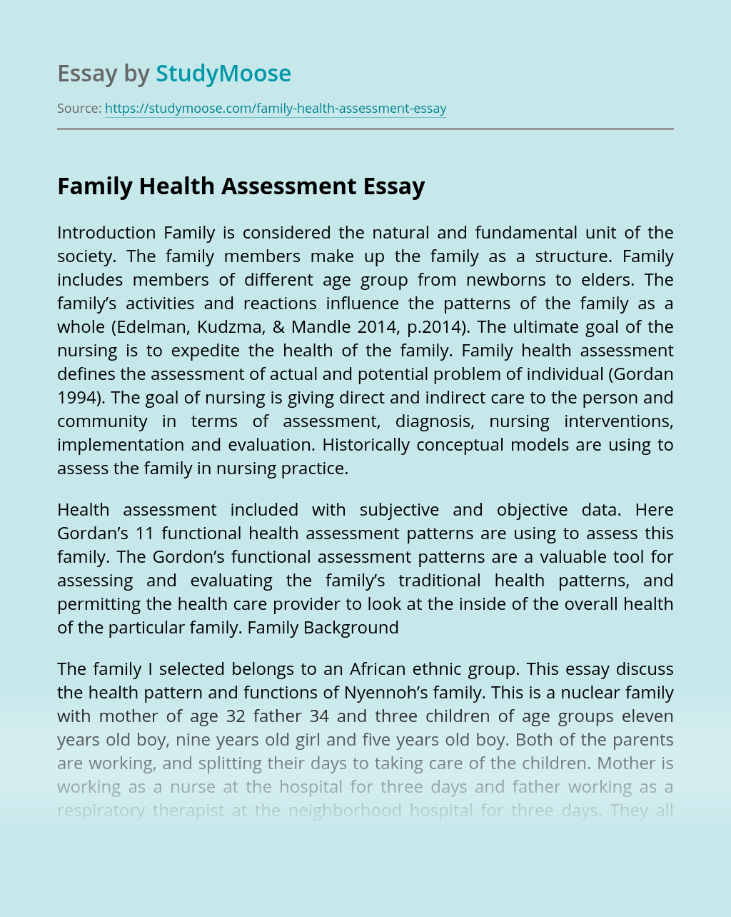 Family Health Assessment
