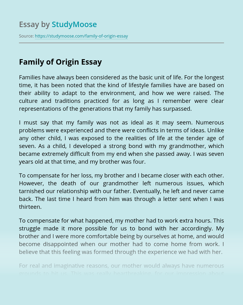 Family Of Origin Free Essay Example Avery stated that he was born in dallas, texas. family of origin free essay example