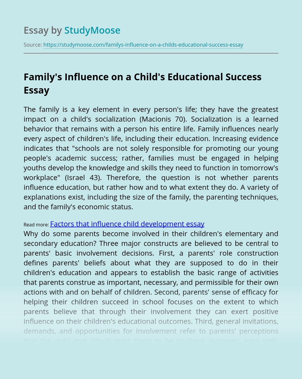 Family's Influence on a Child's Educational Success