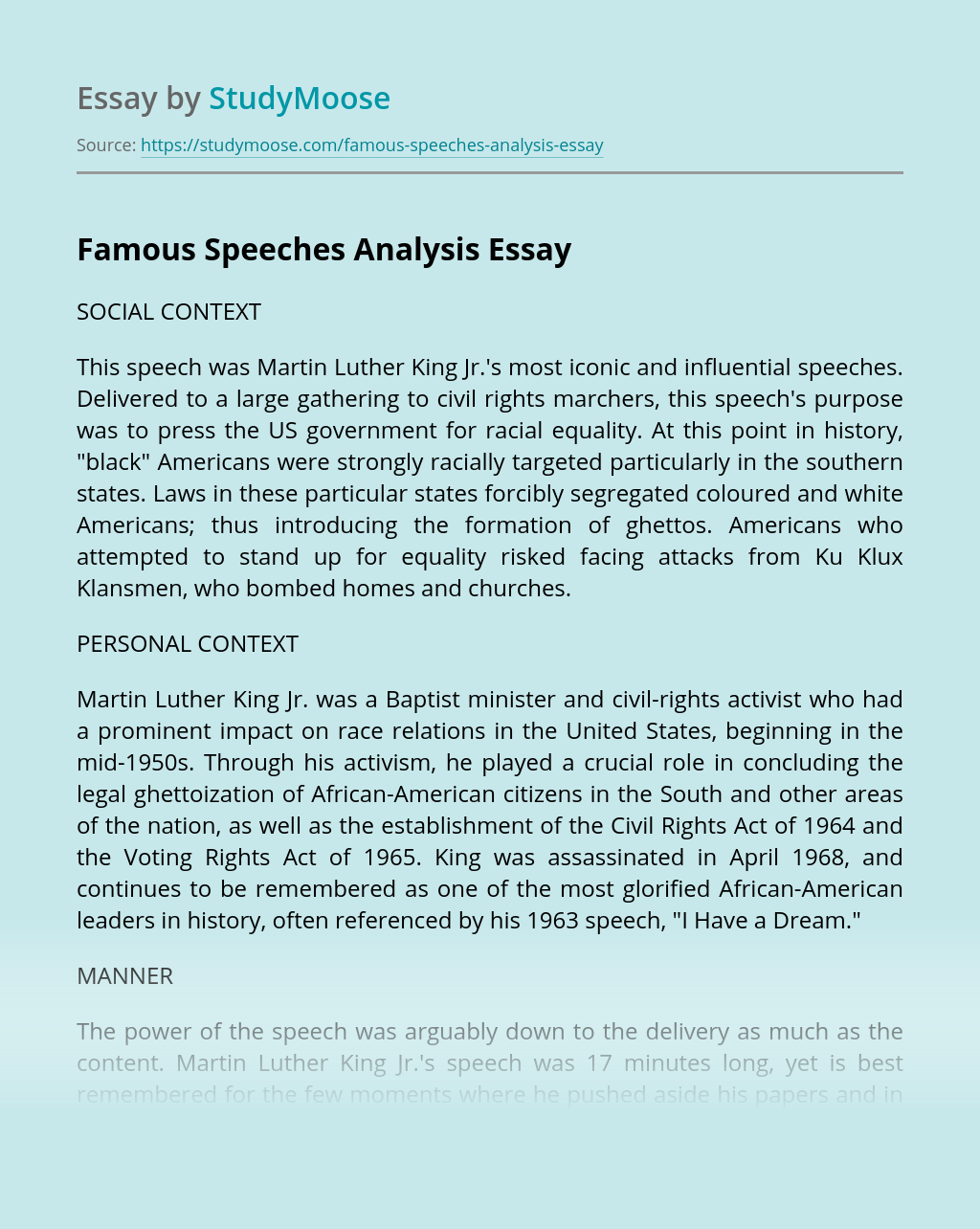 I Have a Dream Speech Analysis Free Essay Sample