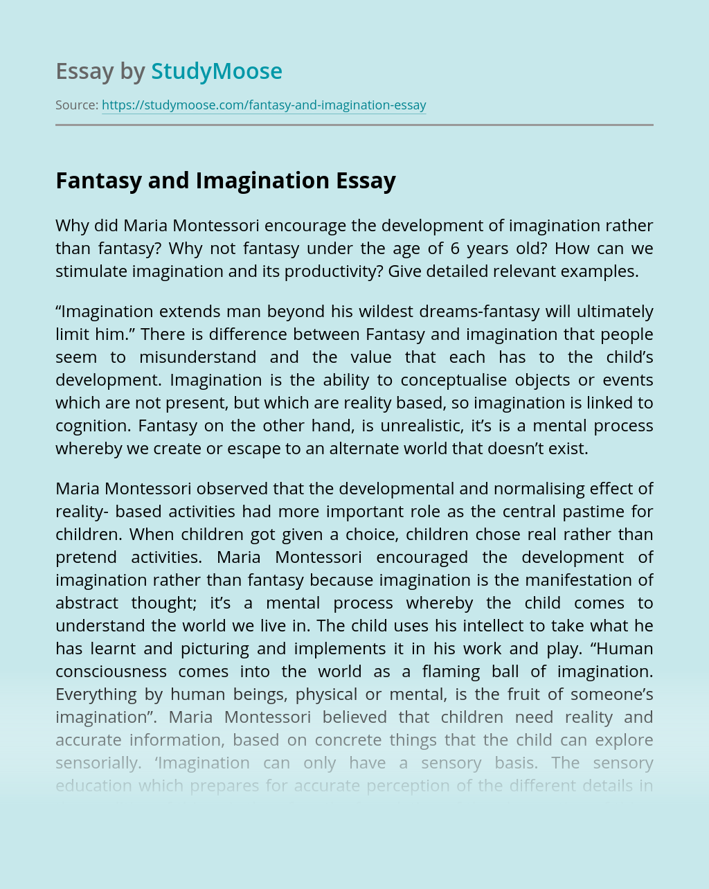 Fantasy and Imagination