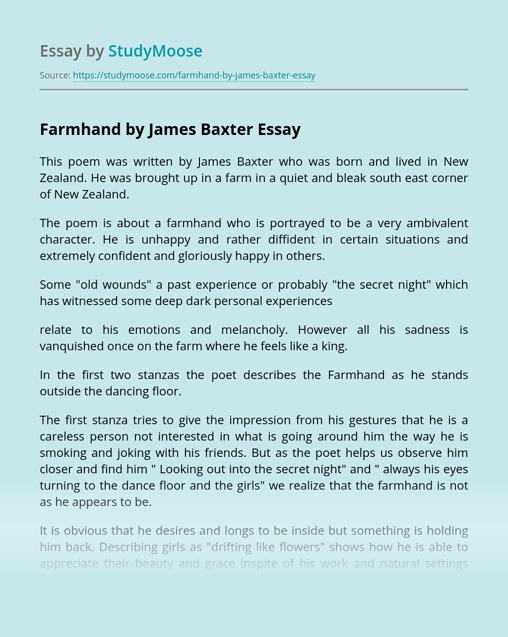 """Farmhand"" by James Baxter"