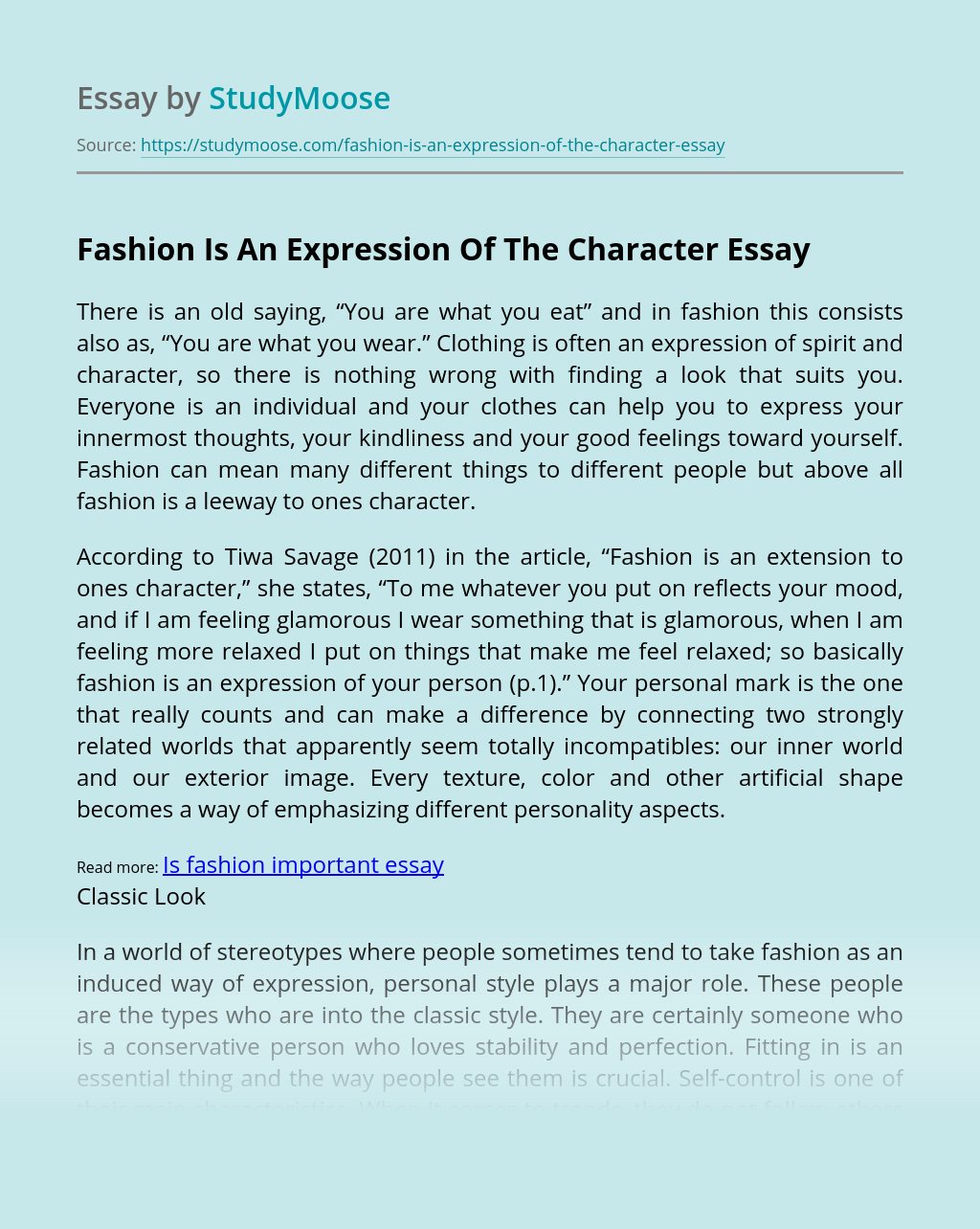Fashion Is An Expression Of The Character Free Essay Example