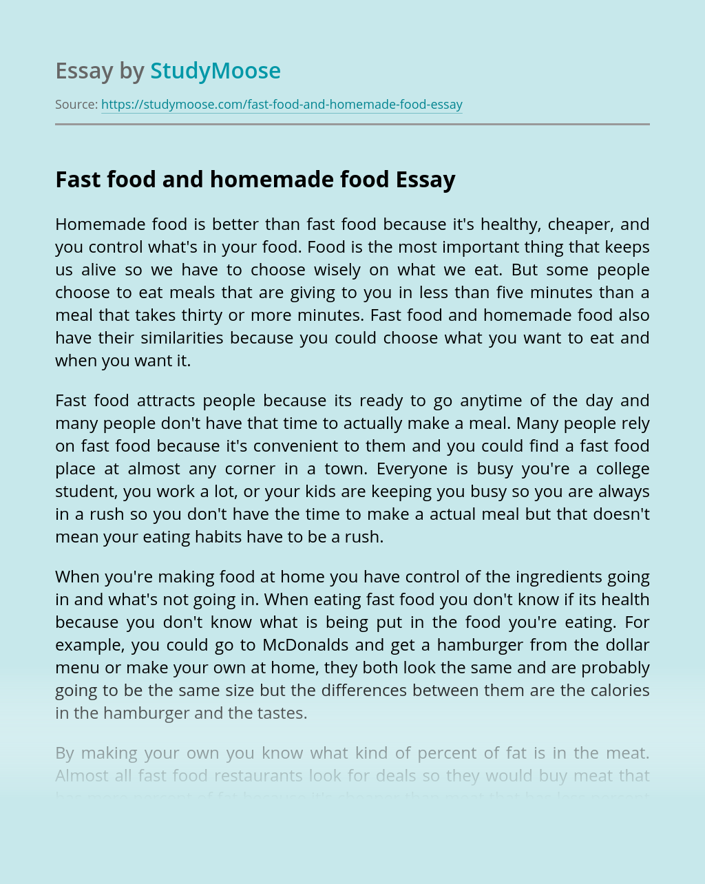 Fast food and homemade food